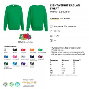 Реглан-толстовка Lightweight M (Fruit of the Loom)-062138